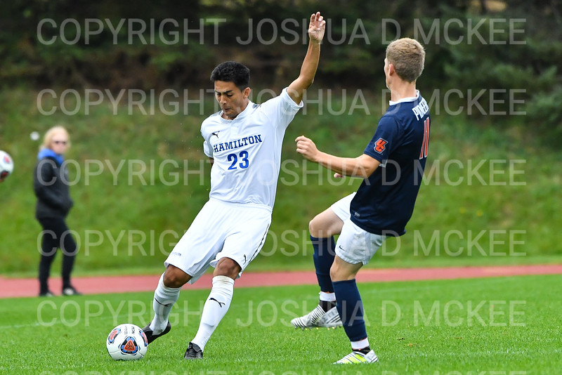 Hamilton College B Jose Torres (23)<br /> <br /> 10/2/19 4:06:42 PM Men's Soccer: Utica College v Hamilton College at Love Field, Hamilton College, Clinton, NY<br /> <br /> Final:  Utica 0  Hamilton 4<br /> <br /> Photo by Josh McKee