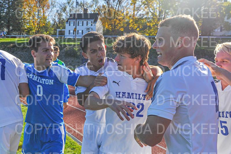 Celebration<br /> <br /> 10/19/19 3:48:05 PM Men's Soccer: Wesleyan University v Hamilton College at Love Field, Hamilton College, Clinton, NY<br /> <br /> Final:  Wesleyan  0  Hamilton 1 (OT)<br /> <br /> Photo by Josh McKee