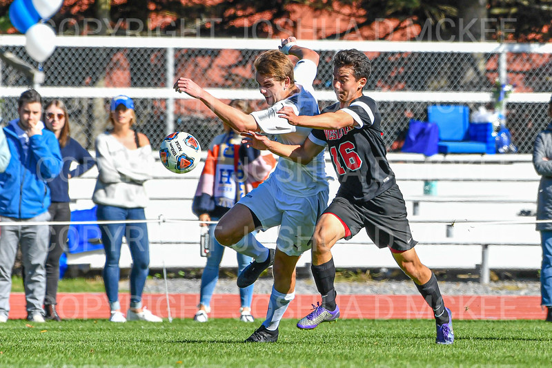Hamilton College forward Aidan Wood (7)<br /> <br /> 10/19/19 1:59:39 PM Men's Soccer: Wesleyan University v Hamilton College at Love Field, Hamilton College, Clinton, NY<br /> <br /> Final:  Wesleyan  0  Hamilton 1 (OT)<br /> <br /> Photo by Josh McKee