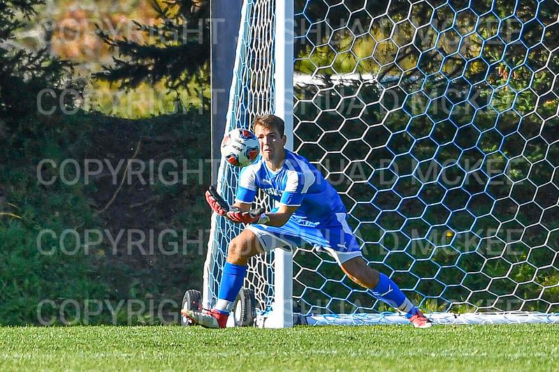 Hamilton College goalkeeper Thomas Benson (0)<br /> <br /> 10/19/19 3:38:49 PM Men's Soccer: Wesleyan University v Hamilton College at Love Field, Hamilton College, Clinton, NY<br /> <br /> Final:  Wesleyan  0  Hamilton 1 (OT)<br /> <br /> Photo by Josh McKee