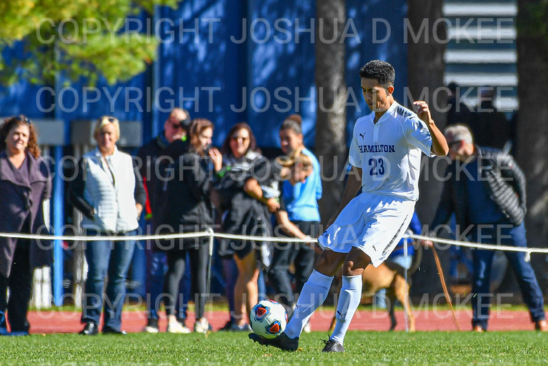 Hamilton College B Jose Torres (23)<br /> <br /> 10/19/19 1:40:01 PM Men's Soccer: Wesleyan University v Hamilton College at Love Field, Hamilton College, Clinton, NY<br /> <br /> Final:  Wesleyan  0  Hamilton 1 (OT)<br /> <br /> Photo by Josh McKee