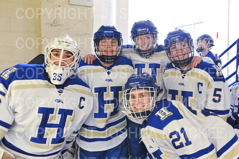 Hamilton College goaltender Sammy Johnson (35), Hamilton College defender Kelli Mackey (21), Hamilton College defender Michaela Giuttari (8), Hamilton College forward Timary Malley (12), Hamilton College defender Kelli Mackey (21)<br /> <br /> 2/29/20 1:24:44 PM Women's Hockey NESCAC Championships Quarterfinal:  Williams College v Hamilton College at Russell Sage Rink, Hamilton College, Clinton, NY<br /> <br /> Final: Williams 3   Hamilton 4 <br /> <br /> Photo by Josh McKee