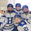 Hamilton College goaltender Sammy Johnson (35), Hamilton College defender Kelli Mackey (21), Hamilton College defender Michaela Giuttari (8), Hamilton College forward Timary Malley (12), Hamilton College defender Kelli Mackey (21)<br /> <br /> 2/29/20 1:24:45 PM Women's Hockey NESCAC Championships Quarterfinal:  Williams College v Hamilton College at Russell Sage Rink, Hamilton College, Clinton, NY<br /> <br /> Final: Williams 3   Hamilton 4 <br /> <br /> Photo by Josh McKee