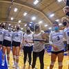 Hamilton College head coach Kristin Baker, Team<br /> <br /> 9/13/21 6:28:12 PM Women's Volleyball:  Utica College vs Hamilton College, at Margaret Bundy Scott Field House, Hamilton College, Clinton, NY<br /> <br /> Final: Utica 1   Hamilton 3<br /> <br /> Photo by Josh McKee