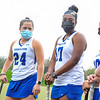 Hamilton College M Maura Holden (24), Hamilton College defender Kathryn Craine (17)<br /> <br /> 4/28/21 5:28:32 PM Field Hockey: Hamilton College Blue/White Scrimmage at Goodfriend Field, Hamilton College, Clinton, NY<br /> <br /> Final: White 3    Blue 2<br /> <br /> Photo by Josh McKee