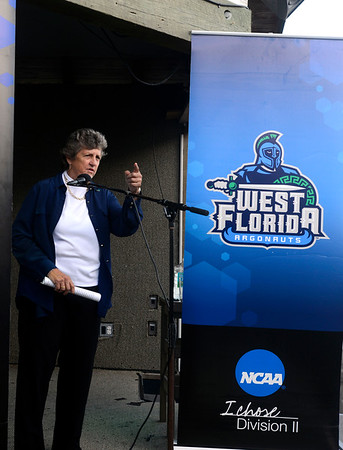 University of West Florida President Dr.Judy Bense speaks to UWF athletics fans Thursday evening during the Argo Rally at The Fish House.