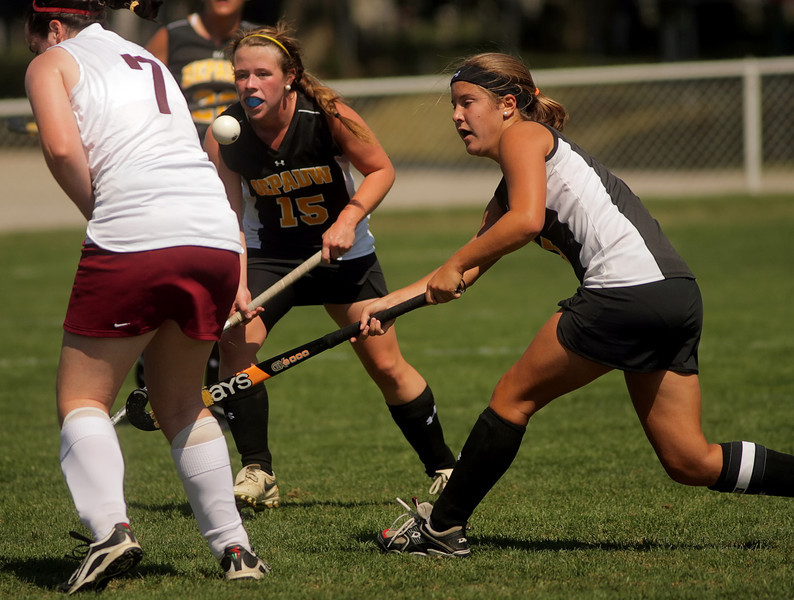 By Alex Turco/The DePauw-- Senior forward Sarah Riffle and Freshman forward Addie McDonnell fight for the ball during DePauw's game against Transylvania, Sept. 13, 2009 at McKeen Field.