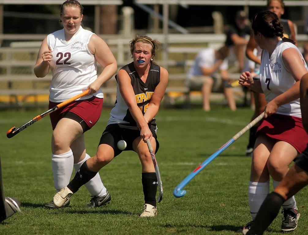 By Alex Turco/The DePauw-- Freshman forward Addie McDonnell hits the ball during DePauw's game against Transylvania, Sept. 13, 2009 at McKeen Field.