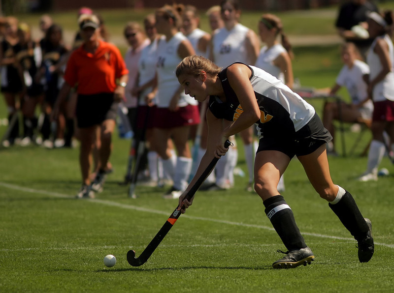 By Alex Turco/The DePauw-- Junior forward Katie Sowar hits the ball during DePauw's game against Transylvania, Sept. 13, 2009 at McKeen Field.