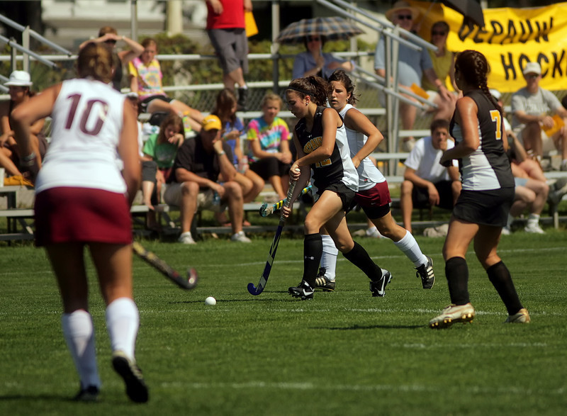 By Alex Turco/The DePauw-- Freshman midfielder/forward Caroline Torie moves the ball downfield during DePauw's game against Transylvania, Sept. 13, 2009 at McKeen Field.