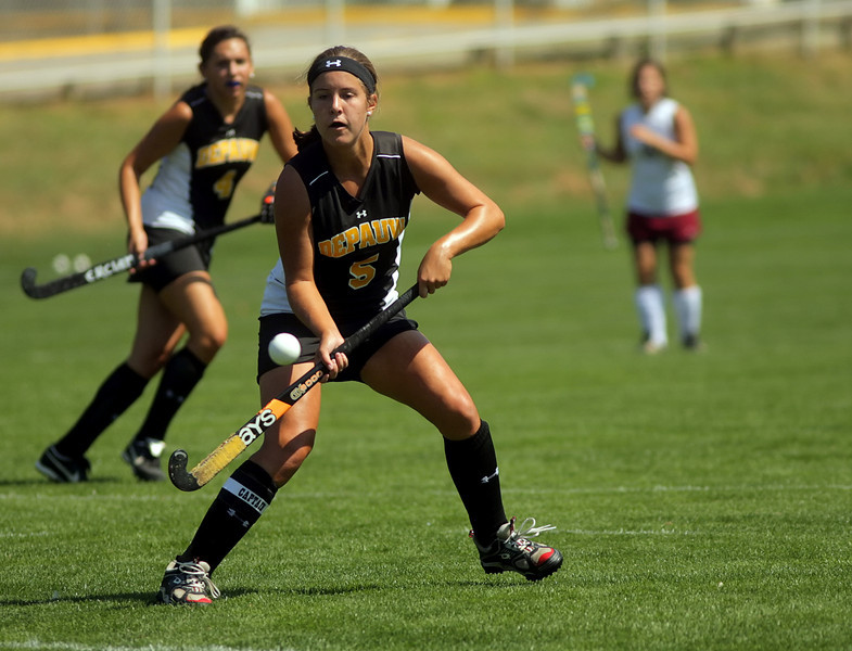 By Alex Turco/The DePauw-- Senior forward Sarah Riffle hits the ball during DePauw's game against Transylvania, Sept. 13, 2009 at McKeen Field.