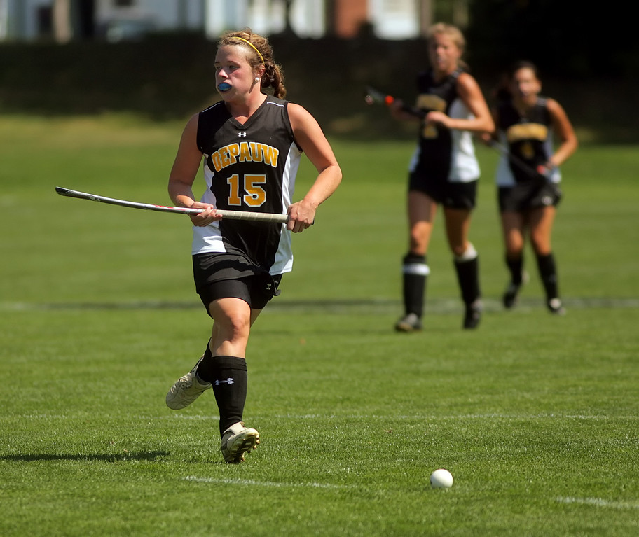 By Alex Turco/The DePauw-- Freshman forward Addie McDonnell moves the ball downfield during DePauw's game against Transylvania, Sept. 13, 2009 at McKeen Field.