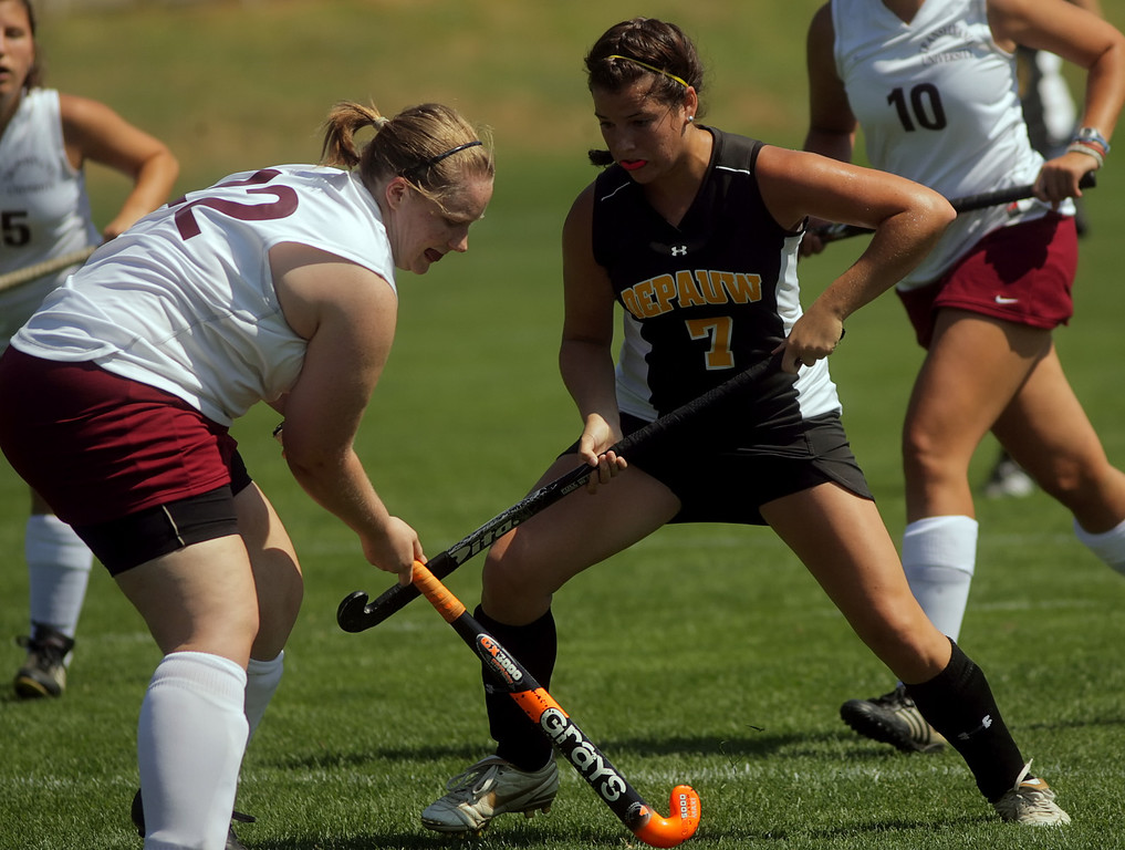 By Alex Turco/The DePauw-- Sophomore forward Kimberly Trainor fights for the ball during DePauw's game against Transylvania, Sept. 13, 2009 at McKeen Field.