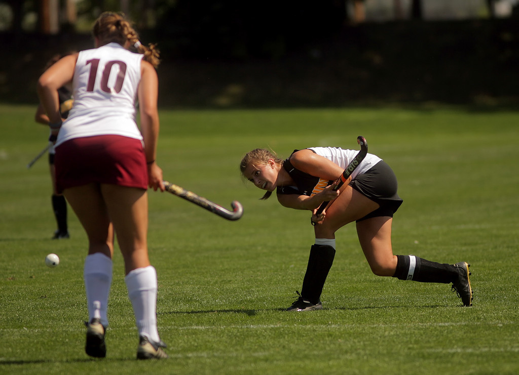 By Alex Turco/The DePauw-- Senior forward Sarah Riffle takes a shot on goal during DePauw's game against Transylvania, Sept. 13, 2009 at McKeen Field.