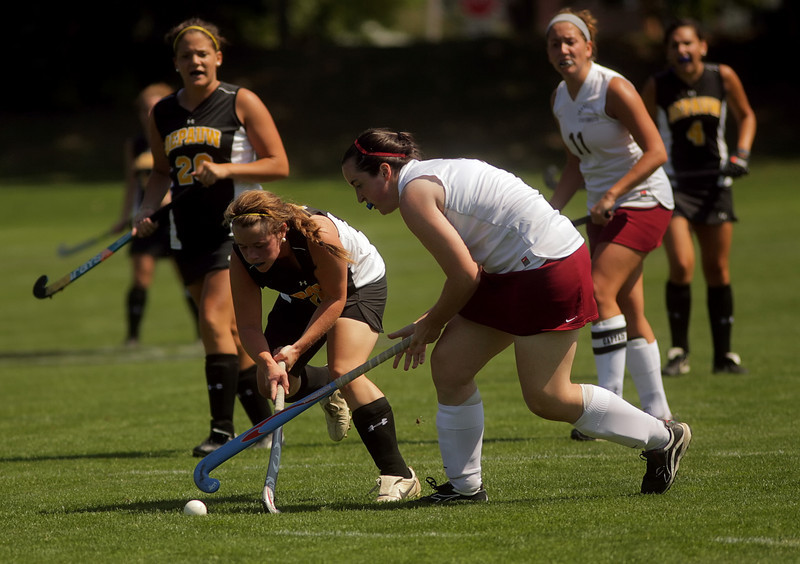By Alex Turco/The DePauw-- Freshman forward Addie McDonnell fights to control the ball during DePauw's game against Transylvania, Sept. 13, 2009 at McKeen Field.