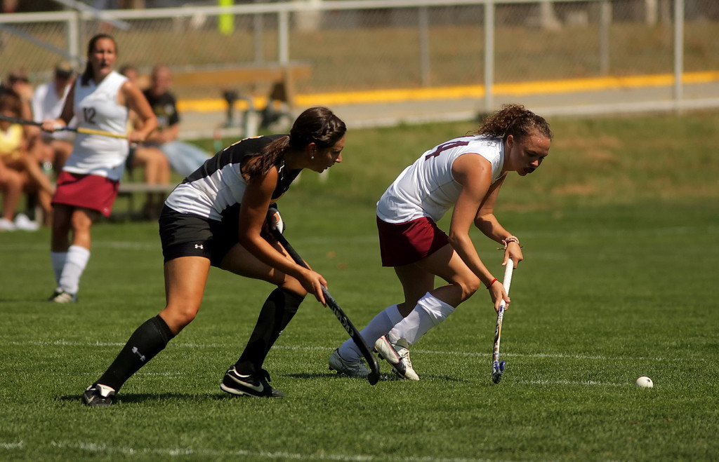 By Alex Turco/The DePauw-- Sophomore midfielder Sarah Maher fights for the ball during DePauw's game against Transylvania, Sept. 13, 2009 at McKeen Field.