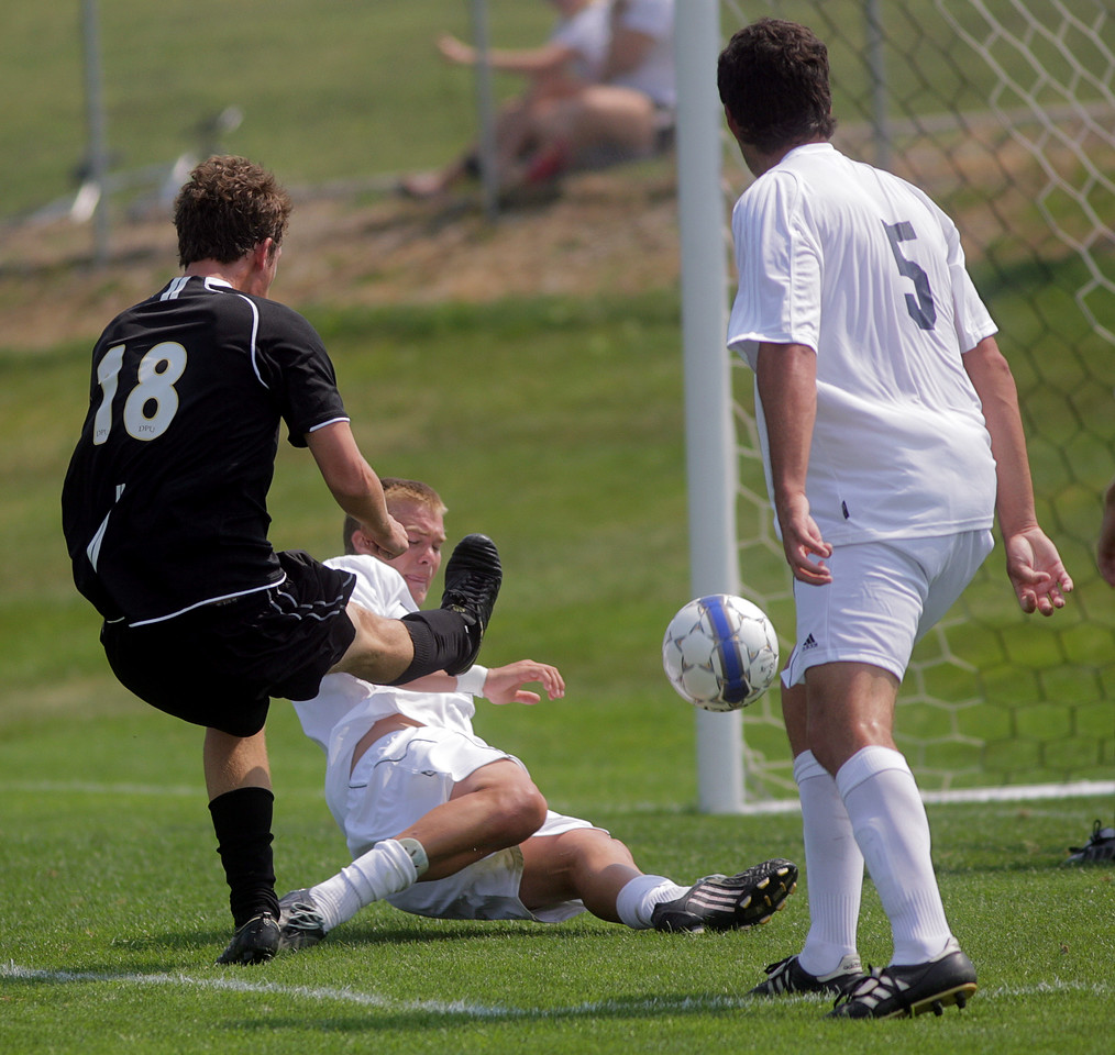By Alex Turco--  Freshman forward Christopher Lee attempts a shot on goal during DePauw's game against Elmhurst, Saturday, Sept. 5, 2009. DePauw won a shut-out 2-0 victory.