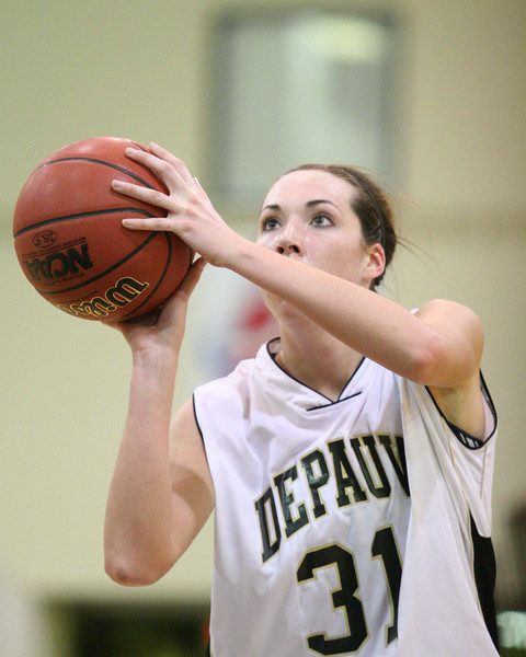 Sophomore forward Jenna Fernandez takes a free throw during DePauw's game against Washington University.  DePauw defeated Washington 73-66 in the second round of the NCAA D3 tournament March 8, 2008.  PHOTO BY ALEX TURCO