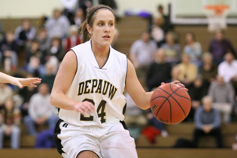 Senior guard Gretchen Haehl  moves the ball down court during the DePauw women's basketball game against Washington University- St. Louis in the second round of the NCAA division three tournament, March 8, 2008.  The Tigers won 73-66, advancing to the NCAA Division III round of sixteen.  PHOTO BY ALEX TURCO