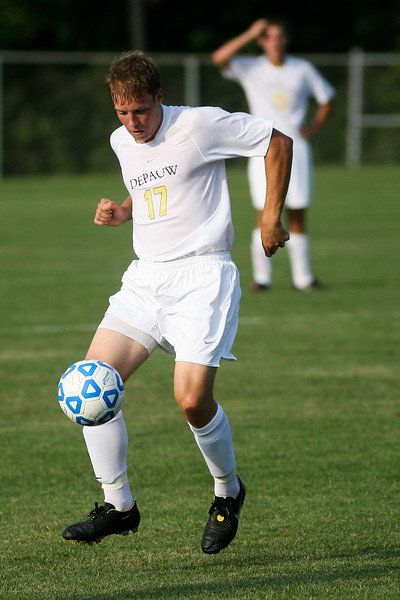 Freshman back Andrew Desmarais handles the ball  during DePauw's game against Holy Cross. The Tigers won 2-0 in the game August 29, 2008, at Bowman Field.  Photo by Alex Turco