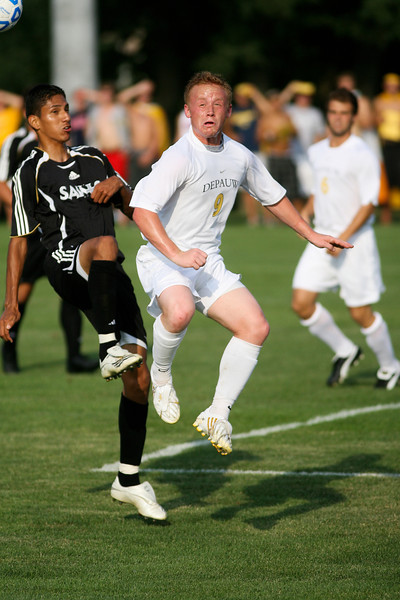 Senior forward Mike Harris reacts following a kick  during DePauw's game against Holy Cross. The Tigers won 2-0 in the game August 29, 2008, at Bowman Field. Photo by Alex Turco