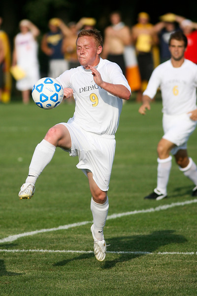 Senior forward Mike Harris prepares to make a kick  during DePauw's game against Holy Cross. The Tigers won 2-0 in the game August 29, 2008, at Bowman Field. Photo by Alex Turco