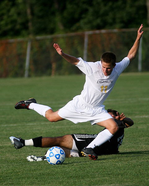 Sophomore midfielder Brad Kean makes a kick  during DePauw's game against Holy Cross. The Tigers won 2-0 in the game August 29, 2008, at Bowman Field. Photo by Alex Turco