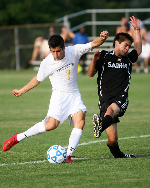 Sophomore midfielder/forward Danny Witzerman makes a kick  during DePauw's game against Holy Cross. The Tigers won 2-0 in the game August 29, 2008, at Bowman Field. Photo by Alex Turco