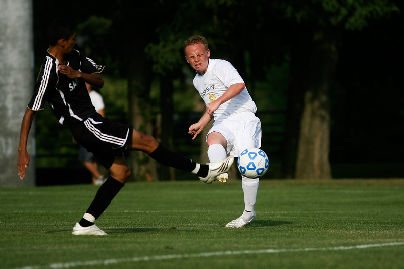Senior forward Mike Harris makes an attempt on goal during DePauw's game against Holy Cross. The Tigers won 2-0 in the game August 29, 2008, at Bowman Field.