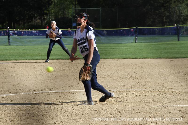 Nasser '15 intimidates her opponent at the mound.
