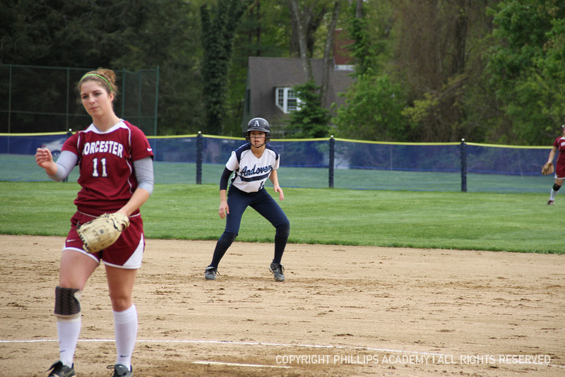 Co-captain Chung '13 reads where the ball is hit in order to advance to third base.