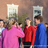 A few of the girls introduce themselves to Jennings before the campus run.