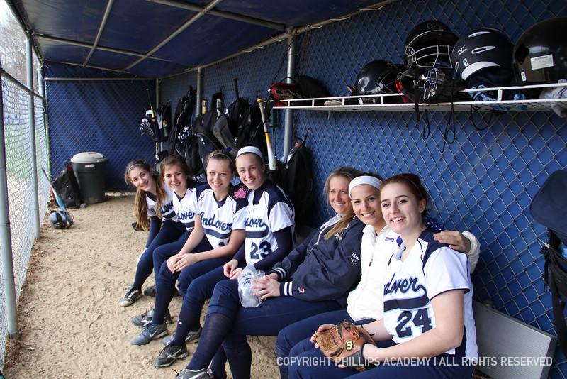 From left to right: Jen Kaplan '15, Devon Burger '13, Kasey Hartung '14, Mackenzie Skwierczynski '12, Sage Hunt '12, Kristin Mendez '13, and Laura Ippolito '14 cheer on their teammates on the field.