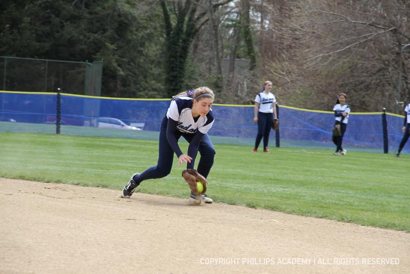 Jen Kaplan '15 fields a ground ball during infield warm ups.