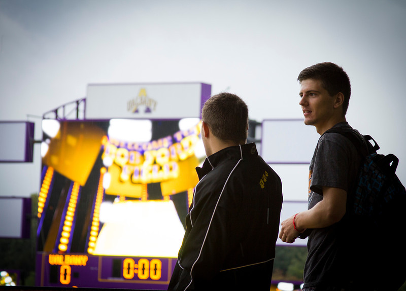 Students experience Bob Ford Field for the very first time at the opening pep rally. Photographer: Paul Miller