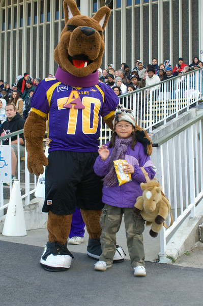 UAlbany Great Dane mascot, Damien, attends various events on and off campus.