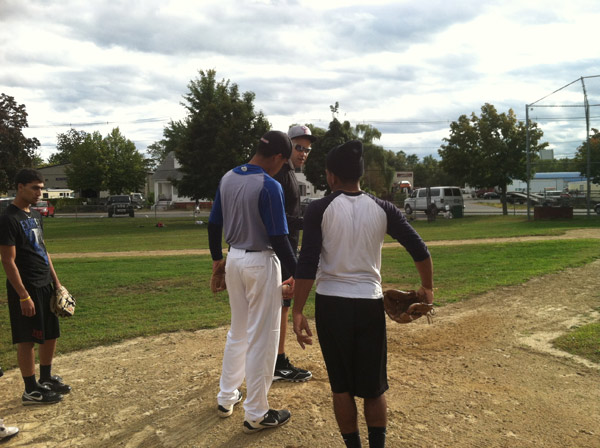 Manny Delcarmen; Raheel Yousuf in black shirt; Elvin Florentino in gray shirt; Jonathen Matos in white shirt