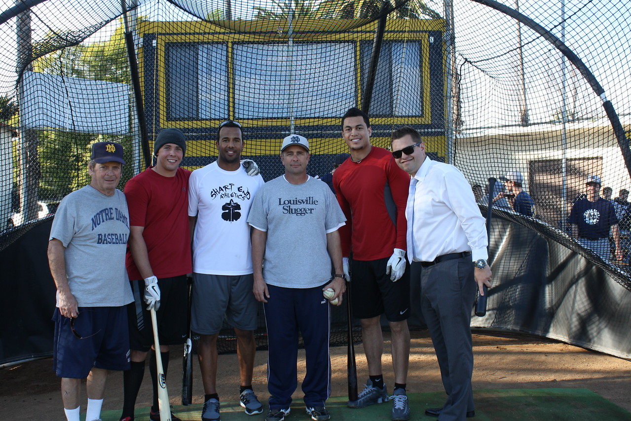 Baseball alumni Mike Stanton (Florida Marlins), Chris Dickerson (New York Yankees) and Kelly Dugan (Philadelphia Phillies) pictured with Coach Tom Dill, Coach Xavier Bejar and Admissions Director Alec Moss '00. (January 2012)
