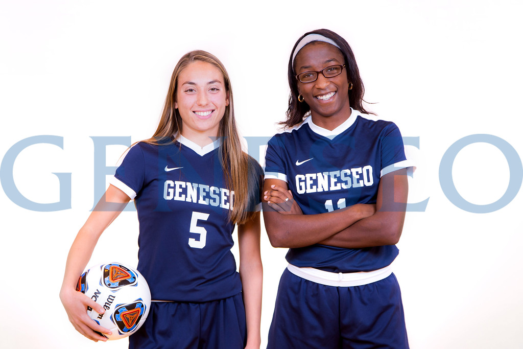 Fall 2017 	Leah Greene (right) and Ellie Gregory SUNYAC all conference players KW
