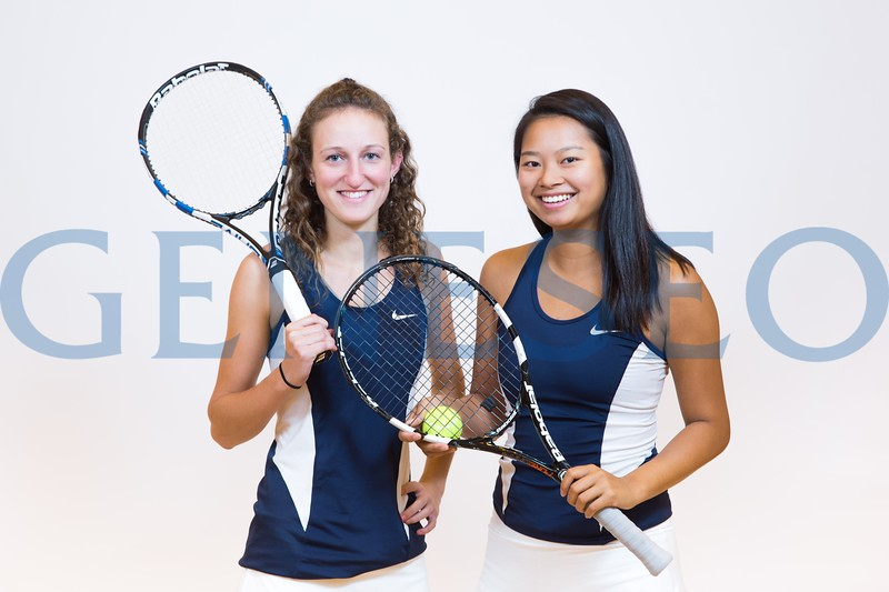 Lauren Salzano and Anika Pornpitaksuk tennis seniors portrait all conference players KW fall 2017