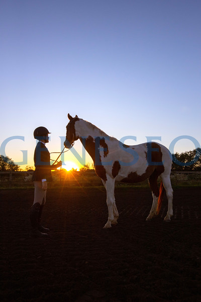 Katie Munn '22, special education major from Saratoga Springs, NY, and Scribble - a 20 year old horse at sunrise.