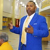 Former NFLer and FVSU footballer Eddie Anderson comments during the press conference.