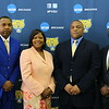 (L-r) Former NFL and FVSU football player Eddie Anderson, State Rep. Patty James Bentley, FVSU head football coach Kevin Porter and FVSU president Dr. Paul Jones