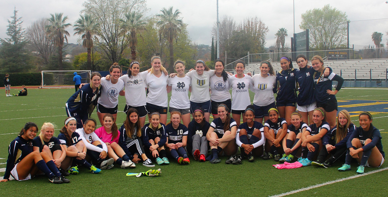 Girls varsity team played in the Inaugural Girl's Soccer Alumni Game against some former Lady Knights.