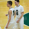 Dylan Buell | dylanphotog@gmail.com | @dylanphotog<br /> Keaton Anderson #15 and Dylan Jones #14 of the Western Hills Wolverines laugh before the game at Lapsley Cardwell Gym Monday night.