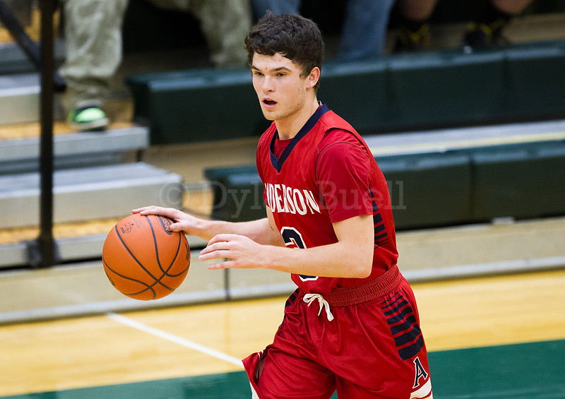 Dylan Buell | dylanphotog@gmail.com | @dylanphotog<br /> John Paul Garmon #3 of the Anderson County Bearcats takes the ball up the floor during the game at Lapsley Cardwell Gym Monday night.