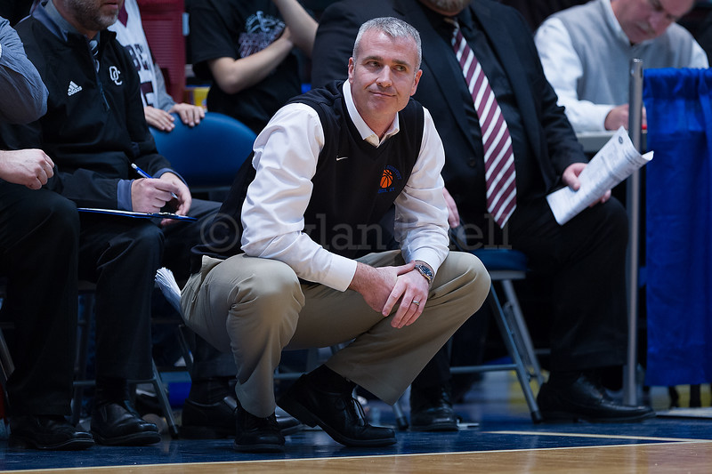 "Dylan Buell | dylanphotog@gmail.com | @dylanphotog<br /> Head coach Devin Duvall of the Owen County Rebels reacts during the All ""A"" Tournament at the Frankfort Convention Center Thursday."