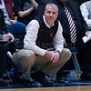 """Dylan Buell   dylanphotog@gmail.com   @dylanphotog<br /> Head coach Devin Duvall of the Owen County Rebels reacts during the All """"A"""" Tournament at the Frankfort Convention Center Thursday."""