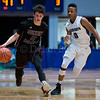 "Dylan Buell | dylanphotog@gmail.com | @dylanphotog<br /> Vince Toftness #11 of the Owen County Rebels dribbles past Solomon Mathis #0 of the Kentucky Country Day Bearcats during the All ""A"" Tournament at the Frankfort Convention Center Thursday."
