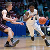 """Dylan Buell   dylanphotog@gmail.com   @dylanphotog<br /> Anthony Mathis #2 of the Kentucky Country Day Bearcats dribbles around Blaine Forsee #20 of the Owen County Rebels during the All """"A"""" Tournament at the Frankfort Convention Center Thursday."""